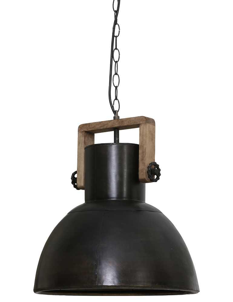 Zwarte Industriele Lamp.Donkere Industriele Lamp Met Hout Light Living Shelly