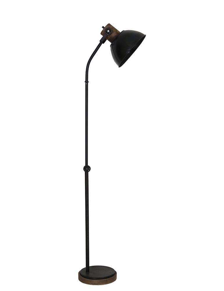 zwarte industriële vloerlamp met houten details light&living jody