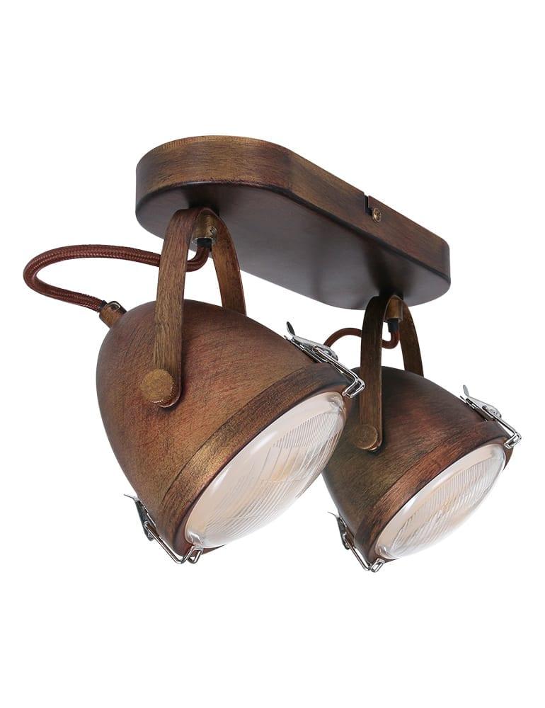 Afbeelding van 2 lichts plafondlamp vintage Lumidem Paco