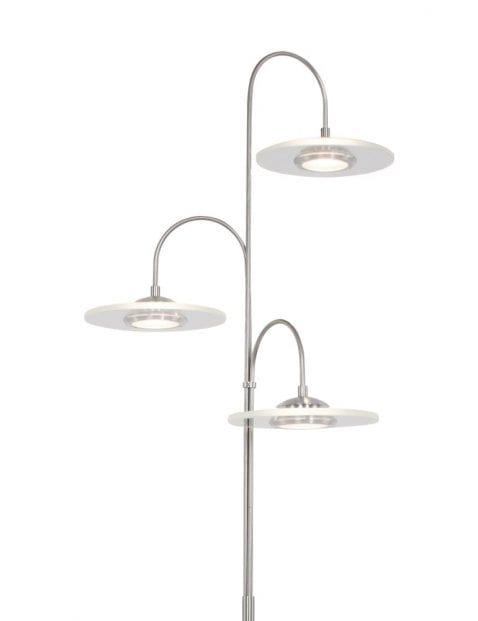 3 lichts vloerlamp staal-7709ST