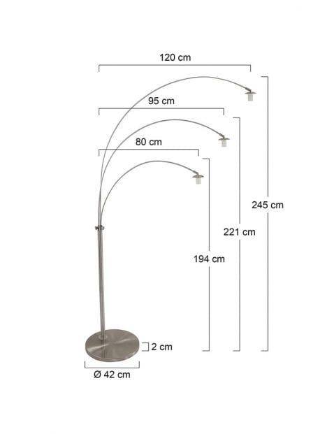 Booglamp-met-drie-kappen-rookglas-9957ST-7