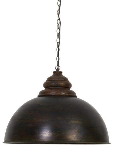 Brocante houten hanglamp-2012B