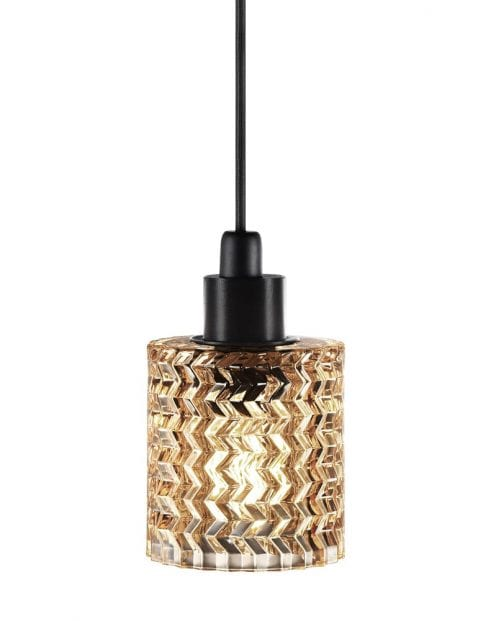 Geribbelde glazen hanglamp-2306B