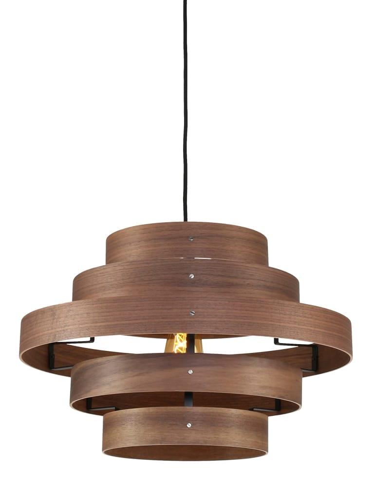 hanglamp hout design expo trading walnut - directlampen.nl