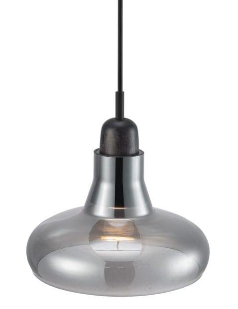 Hanglamp hout rookglas-2156ZW