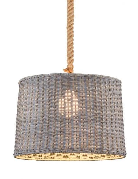 Grijze rotan hanglamp Trio Leuchten Rotin met touw