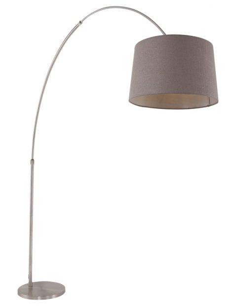 Stalen booglamp met taupe kap-9849ST