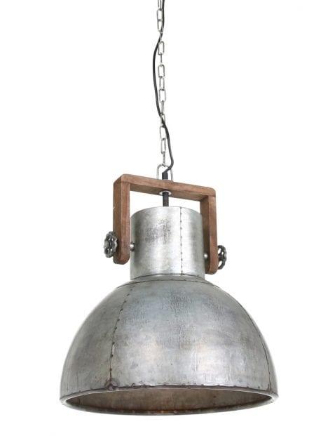 Stalen industriele hanglamp met hout-1678ZI