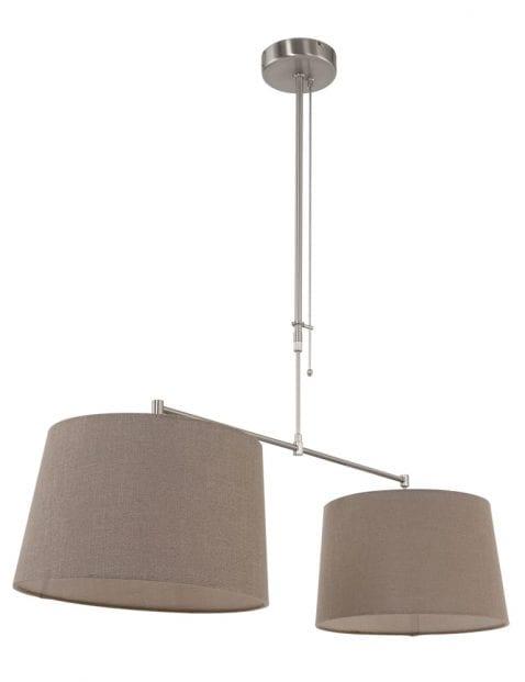Tweelichts hanglamp taupe kappen-9839ST