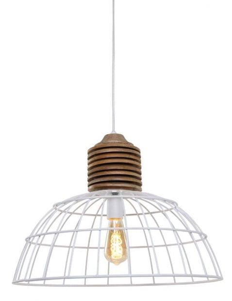 Witte draadlamp met hout-1686W
