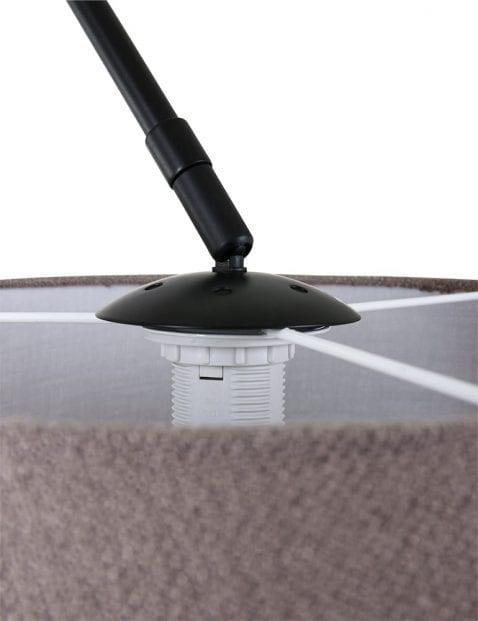 Zwarte-booglamp-met-taupe-kap-9850ZW-1