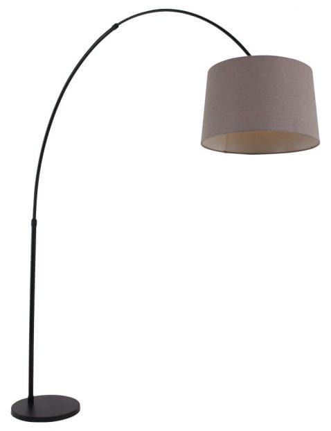 Zwarte booglamp met taupe kap-9850ZW