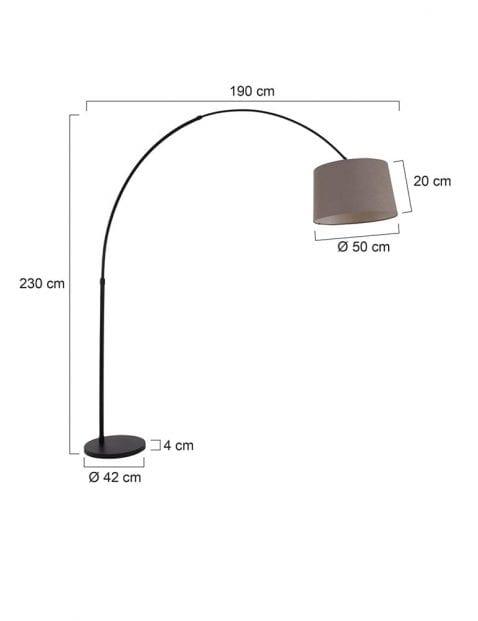 Zwarte-booglamp-met-taupe-kap-9850ZW-6