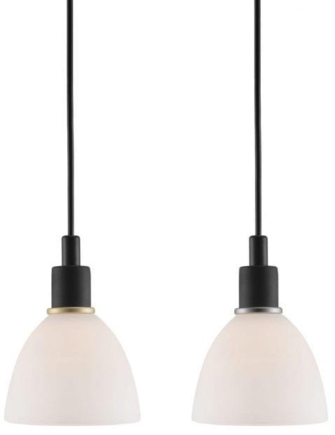 Zwarte hanglamp met wit kapje-2359ZW