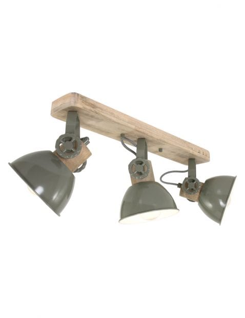Houten plafondlamp met 3 grijze spots Mexlite Gearwood