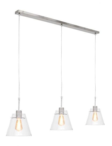 Drielichts hanglamp met glazen kap Steinhauer Glass cloak staal