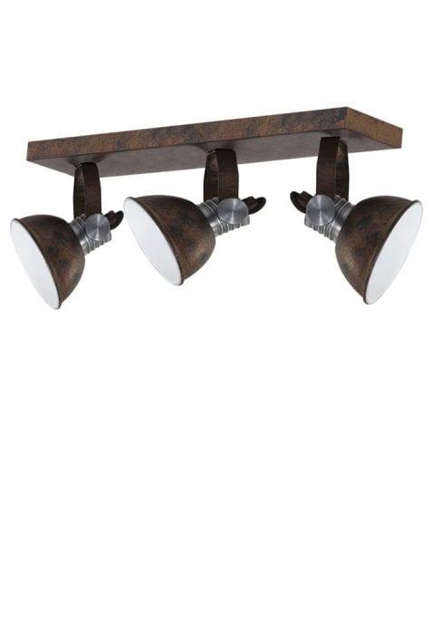 Industriele drielichts plafondlamp Steinhauer Brooklyn bruin