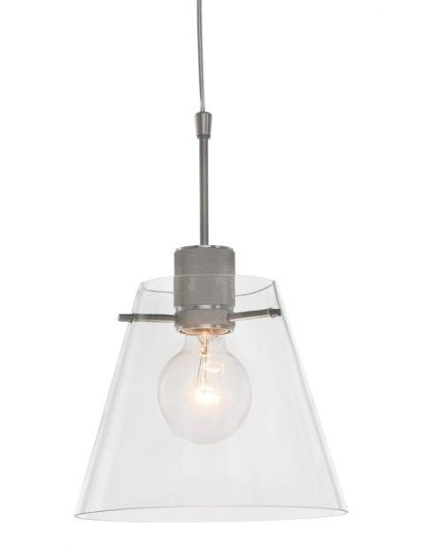 hanglamp staal met glazen kap-1896ST