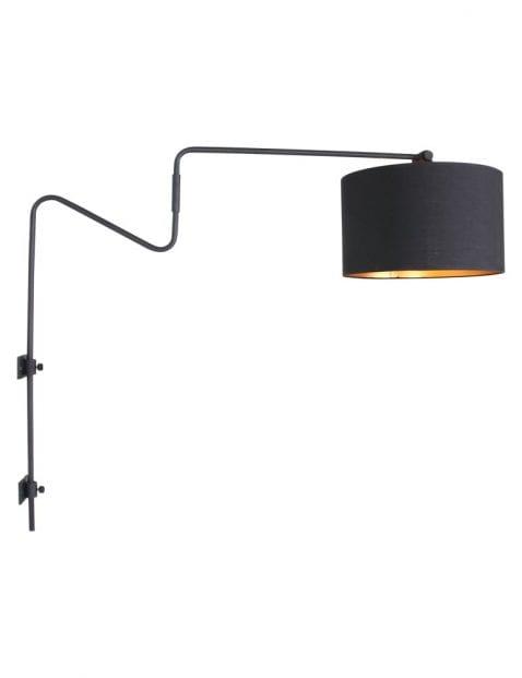 industriele boog wandlamp met zwarte kap-2131ZW