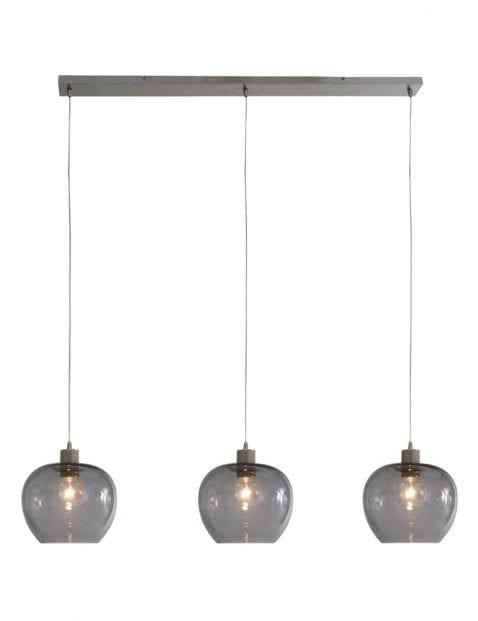 Drielichts rookglazen hanglamp Steinhauer Lotus staal