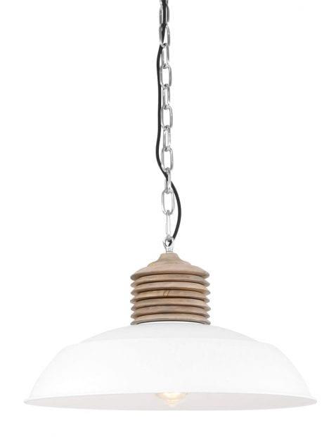 witte grote hanglamp met hout-7974W
