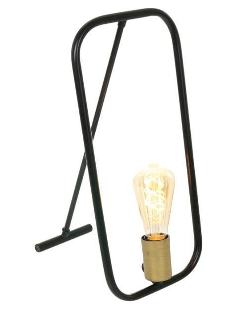 zwarte tafellamp met gouden fitting-2422ZW