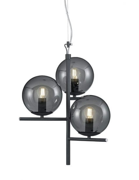 Hanglamp met rookglazen bollen Trio Leuchten Pure zwart