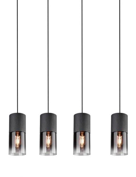 Vierlichts hanglamp met rookglas Trio Leuchten Robin zwart