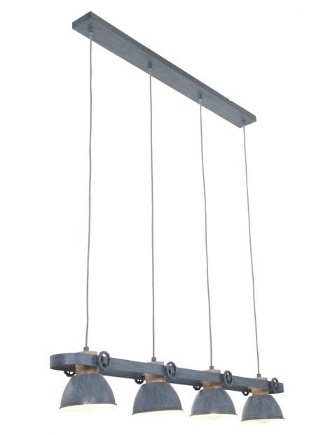 Vierlichts industriële eettafellamp Mexlite Gearwoord grijs
