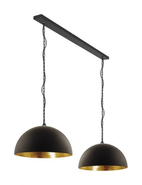 Tweelichts hanglamp zwart met goud Steinhauer Semicirkel