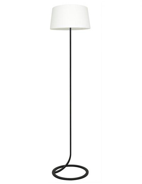 Vloerlamp lampenvoet met witte kap Light & Living Mavey zwart
