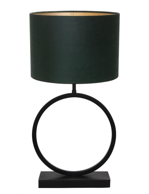 Lampenvoet rond met groene kap Light & Living Liva zwart