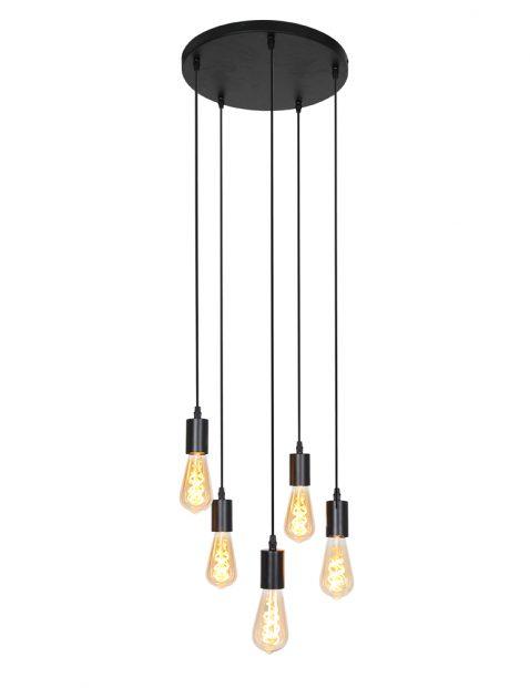 2838ZW-Vijflichts hanglamp