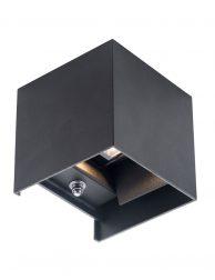 Vierkant buitenlampje met lichtsensor Steinhauer Cebu zwart