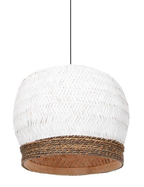 Gevlochten rotan hanglamp Light & Living Mikki wit