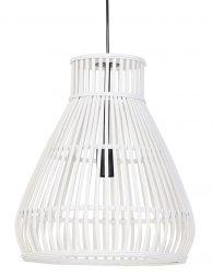 Trechtervormige rotan hanglamp Light & Living Timaka wit