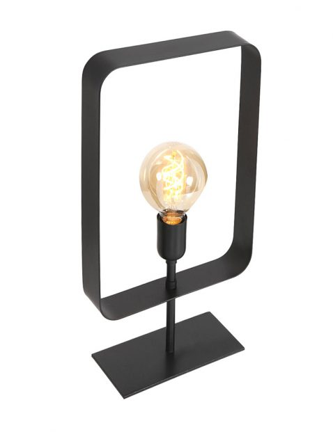 Rechthoekige frame tafellamp Light & Living Yalu zwart