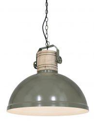 Metalen hanglamp met houten klos - 3000G
