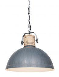 Industriële eettafellamp met houten klos - 3000GR