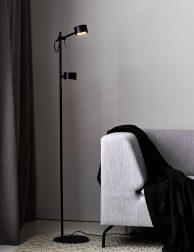 Tweelichts vloerlamp LED Nordlux Clyde zwart