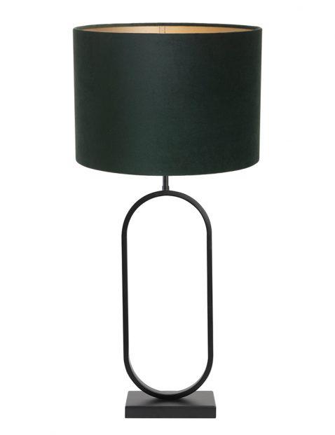 Lampenvoet met groene velvet kap Light & Living Jamiri zwart