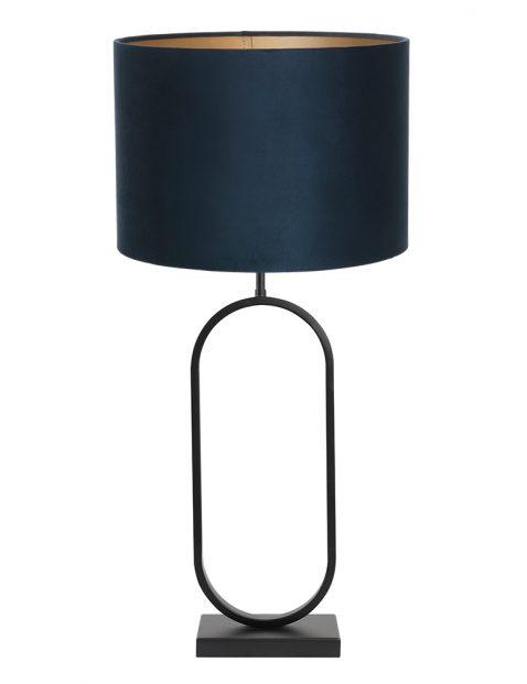 Lampenvoet met blauwe velvet kap Light & Living Jamiri zwart