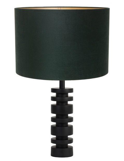 Lampenvoet schijf met groene velvet kap Light & Living Desley zwart