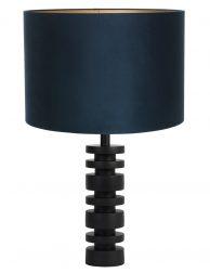 Lampenvoet schijf met blauwe velvet kap Light & Living Desley zwart