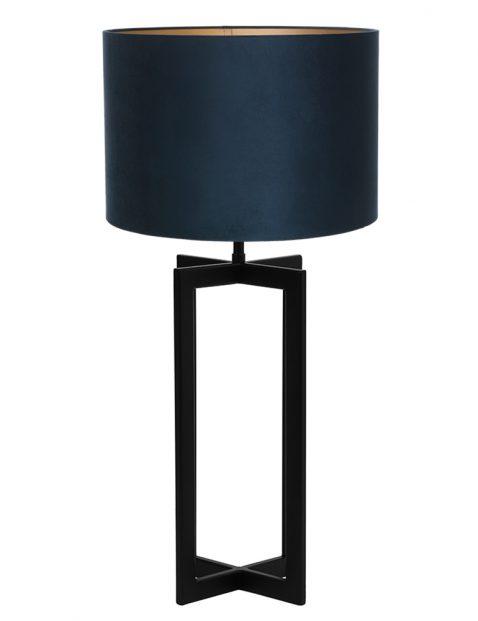 Lampenvoet vierpoot met blauwe velvet kap Light & Living Mace zwart