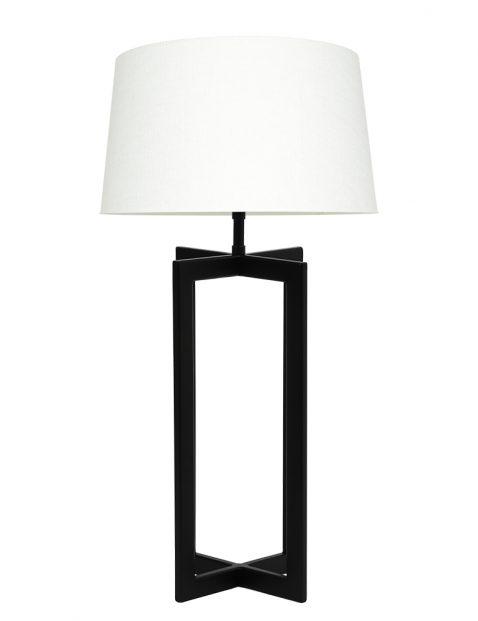 Lampenvoet vierpoot met witte kap Light & Living Mace zwart