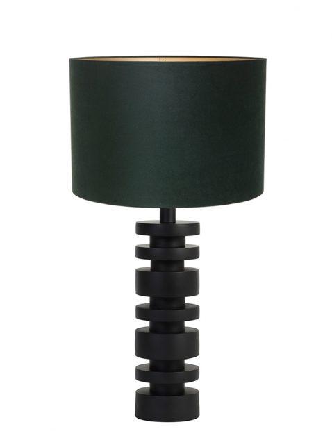 Lampenvoet schijfjes met groene kap Light & Living Desley zwart