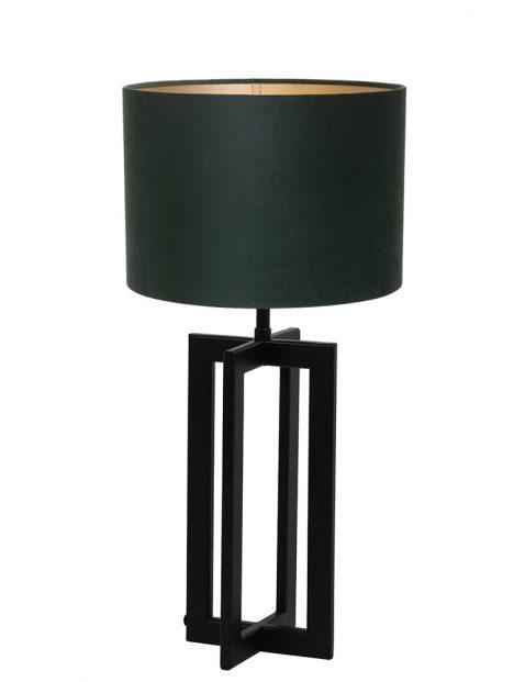 Lampenvoet frame met groene kap Light & Living Mace zwart