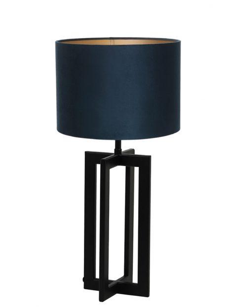 Lampenvoet frame met blauwe kap Light & Living Mace zwart