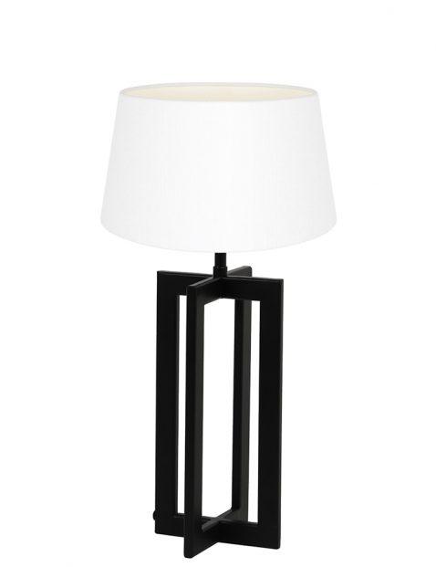 Lampenvoet frame met witte kap Light & Living Mace zwart
